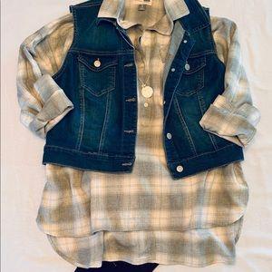 Old Navy Boyfriend Plaid Flannel Tunic Top XL